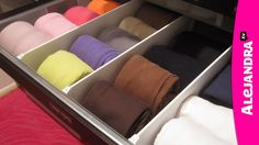 Here's a video on how I organize dresser drawers and fold underwear, bras, socks, and tank tops. Plus you'll see how I created dividers inside my elfa drawers (in case you didn't know, elfa doesn't make dividers for their … Dresser Drawer Organization, Diy Drawer Organizer, Sock Organization, Household Organization, Dresser Drawers, Organize Dresser, Bedroom Organization, Drawer Dividers, Organizar Closets