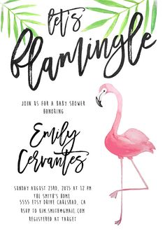 Lets flamingle! This invitation is summer soiree ready with a hot pink flamingo, watercolor palm leaves, and a unique calligraphy font! It also