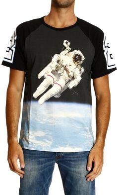 FRANKIE MORELLO Black Tshirt Short Sleeve Crewneck Space Print