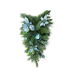 24 PreDecorated Peacock Blue  Silver Balls  Poinsettias Artificial Christmas Teardrop Swag  Unlit *** Check this awesome product by going to the link at the image.