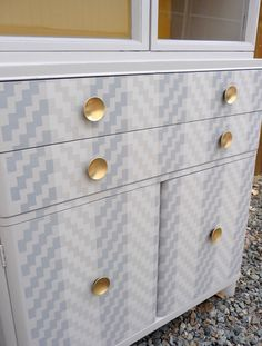Ikat Zig Zag Moroccan Stencil on Dresser. Great tone-on-tone stencil look with pattern from Royal Design Studio