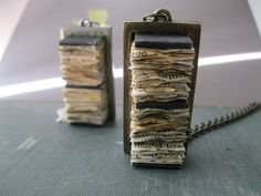 Book Jewelry Paper Necklace Pendant Modern Rustic by PaperMemoirs