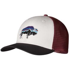 Patagonia Fitz Roy Bison Trucker Hat ($29) ❤ liked on Polyvore featuring accessories, hats, truck caps, patagonia hat, patagonia en trucker hat