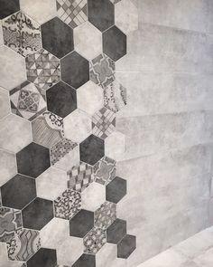 #tiles #hexagon #stone #concrete #mixture #odinceramics House Design, Eclectic Floor, Tile Inspiration, Bathroom Interior Design, Bath Design, Classic Style Bathrooms, Best Kitchen Designs, Hexagon, Dream Remodel