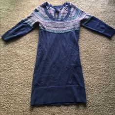 Blue sweater dress Very pretty blue sweater dress with a beautiful design around the top. American Eagle Outfitters Dresses Midi