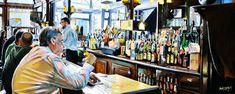 """NEW YORK By Socrates Rizquez 2019 - Enamels on aluminium painting. 120 x 48 cm. Thanks to my eyes in NYC Tom Piorkowski. Impressionist Art, Impressionism, Cheers Bar, Original Paintings, Original Art, Realism Art, Photorealism, Enamel Paint, Interior Paint"