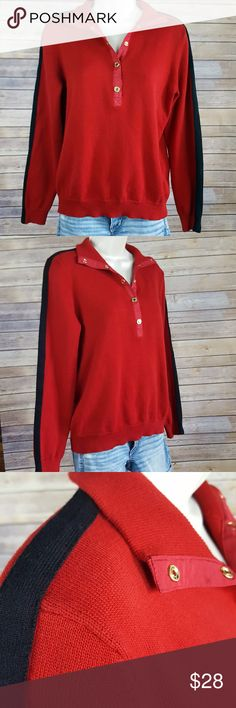 """Ralph Lauren petite sweater Lauren Ralph Lauren size petite large, red sweater with black stripe on sleeve, snap front ribbed neckline can be worn up or folded down as seen in pictures 5 and 6. 100% cotton,  23"""" sleeve length, 19"""" bust, 24"""" length. Excellent condition Lauren Ralph Lauren Tops"""