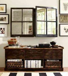 meuble télé avec portes miroitées