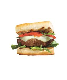 Burgers With Manchego and Roasted Peppers|Give your usual burger a tasty twist by topping with manchego cheese, roasted red peppers, and peppery watercress.