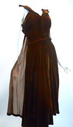 Deep Brown Silk Velvet & Chiffon Party Dress circa 1940s - Dorothea's Closet Vintage