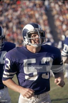 f0a9923ed Linebacker Jim Purnell  53 of the Los Angeles Rams runs off the field in an