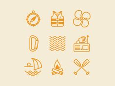 Outdoor Icons designed by Michael Thorp. Icon Design, Web Design, Graphic Design, Pin Logo, Fish Design, Icon Set, Vector Icons, Design Projects, Board Games