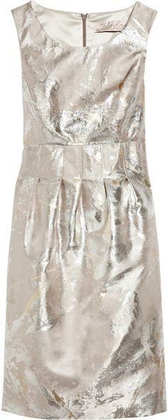 LELA ROSE   Foil-brocade Dress