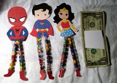 Super Heroes  Sixlets Legs, Candy, Novelty Gift Easter Baskets, School Party ~ Wonder Woman, Spiderman, Superman  ~ 1 Dozen by CuppersCandyWraps on Etsy https://www.etsy.com/listing/487970602/super-heroes-sixlets-legs-candy-novelty