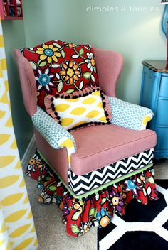 Dimples and Tangles: How to Reupholster a Chair...with a Hot Glue Gun!