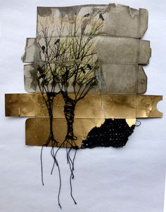 In Between--mixed media by Ines Seidel. Cardboard packaging with photo transfer, gold acrylic spray, wax and yarn (partly crocheted). She is a very prolific artist. ~CAWeStruck