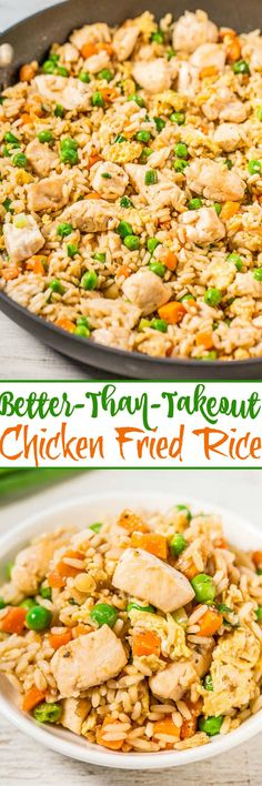 Easy Better-Than-Takeout Chicken Fried Rice - One-skillet, ready in 20 minutes, and you'll never want takeout again after tasting how good homemade is!! Way more flavor, not greasy, and loads of juicy chicken!!