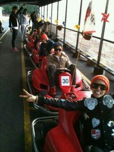 Big Bang's G-dragon and T.P on go-karts Daesung, Gd Bigbang, Bigbang G Dragon, Boom Shakalaka, One Last Dance, Gd And Top, Korean Star, Always Smile, Fantastic Baby