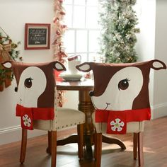 Deck out your dining room with these adorable Reindeer Chair Covers! With a simple slip cover design, each cover features an over-sized, smiling reindeer face. Christmas Chair Covers, Christmas Cover, Christmas Crafts, Kitchen Chair Covers, Chair Back Covers, 50 Diy Christmas Decorations, Holiday Decor, Home Decor Colors, Colorful Decor