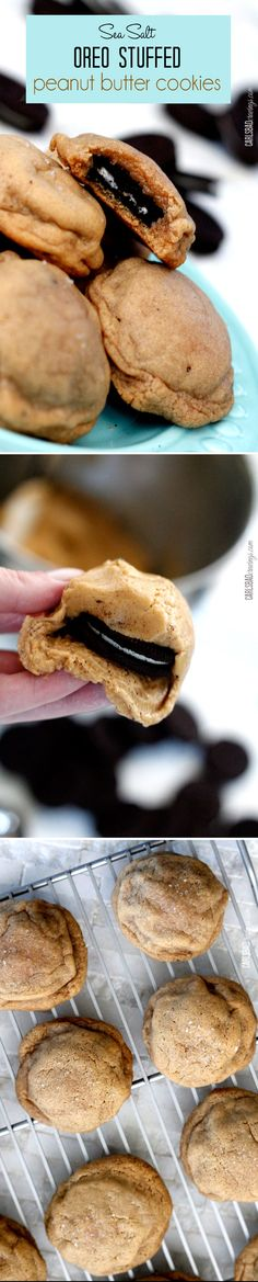 LThe BEST PB cookie ever! Soft and chewy peanut butter cookies, with SOFT, melty Oreos inside balanced by savory sea salt AND as easy as wrapping an Oreo in a PB cookie but tastes like you spent hours! Such a fun cookie to bring to friends and parties! Fun Desserts, Delicious Desserts, Dessert Recipes, Yummy Food, Chewy Peanut Butter Cookies, Oreo Cookies, Baking Recipes, Cookie Recipes, Yummy Treats