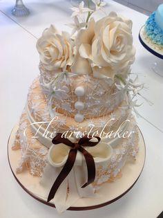 Romantic lace wedding cake