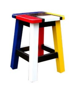 Funky Painted Furniture, Painted Chairs, Recycled Furniture, Home Decor Furniture, Furniture Making, Furniture Makeover, Furniture Design, Piet Mondrian, Chair Design Wooden