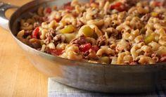 Cheesy Hamburger Skillet Recipe on Yummly Meat Recipes, Pasta Recipes, Cooking Recipes, Healthy Recipes, Budget Recipes, Potluck Recipes, Paleo Food, Cheese Recipes, Rice Recipes
