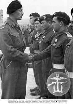 gen Anders decorating Polish Commandos with the Cross of Valour after Grigiliano battle