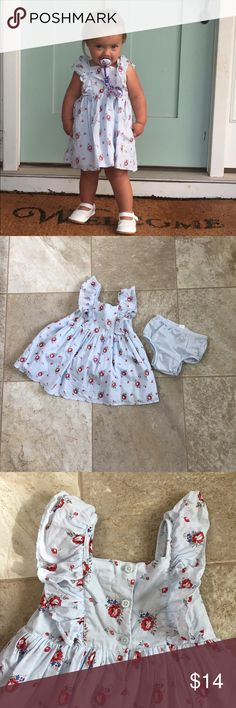 Baby Gap light blue floral sundress & bloomers EXCELLENT CONDITION!!!   ADORABLE light blue floral sundress from Baby Gap. Size 18-24 months. Both dress & bloomers are 100% cotton. This was one of our little one's favorite dresses!! (Dress does need ironing 🤪)  💐MOTIVATED SELLER  💐BUNDLE & SAVE 💰📦 💐HUGE FAMILY CLOSET CLEANOUT, Adding items daily  💯% of all closet sales go to help my son's fundraising efforts for his school field trip to Epcot!!  💐Thanks for shopping & sharing!! baby…