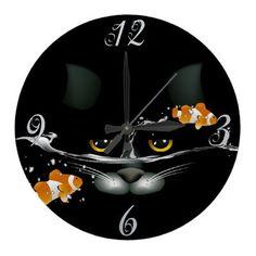 Cat and Goldfish  Wall Clock by PetsandVets  http://www.zazzle.com/cat_and_goldfish_wall_clock-256061552201844278?rf=238346027810244797
