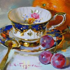 "Daily Paintworks - ""Paragon Teacup and Fruit"" - Original Fine Art for Sale - © Elena Katsyura"