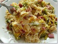 Gizi-receptjei. Várok mindenkit.: Kelkáposztás-baconös-sajtos tészta. Hungarian Cuisine, Ravioli, Tasty Dishes, My Recipes, Potato Salad, Cabbage, Bacon, Food And Drink, Meals