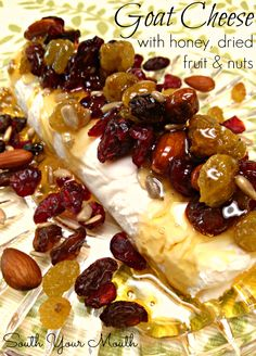 Goat Cheese with Honey, Dried Fruit | we rolled goat cheese in pecans and drizzled w honey | was amazing!