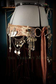 "Tribal Fusion Belt- Mehendi Bellydance Bedlah 39"" Plus Size Sepia Cream and Mixed Metals Dance Costume"