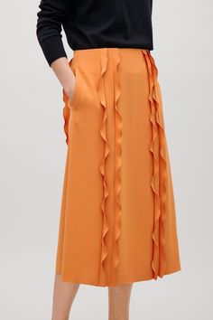 COS image 2 of A-line skirt with frills in Tangerine