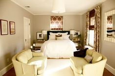 Gray and Plum bedroom (via Little Green Notebook) - Possible color scheme for the dining room