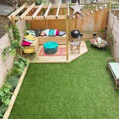 Design Patio, Back Garden Design, Small Backyard Design, Backyard Patio Designs, Small Backyard Landscaping, Backyard Ideas, Patio Ideas, Garden Ideas, Backyard Waterfalls