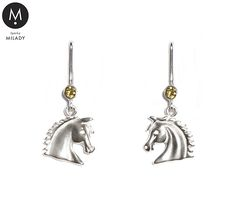 VŠECHNY ŠPERKY | Náušnice koně Vivian a přírodní kámen citrín - žluté | MILADY šperky, jezdecké a koně