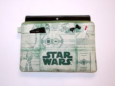 iPad / Microsoft Surface Padded Sleeve Cover (4 Pockets) - Handcrafted from STAR WARS Green Print Fabric