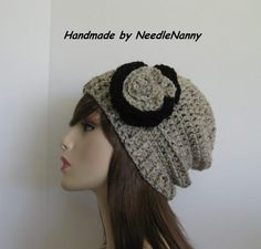 Crochet Hat with Flower Linen color Womens Accessories Teen Hat Ladies Hats Beanie Slight Souch Hat. $22.00, via Etsy.