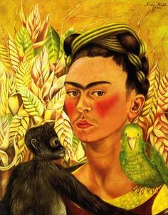 Frida Kahlo Self Portrait with Parrot painting for sale - Frida Kahlo Self Portrait with Parrot is handmade art reproduction; You can buy Frida Kahlo Self Portrait with Parrot painting on canvas or frame. Diego Rivera, Museum Of Fine Arts, Art Museum, Frida Paintings, Parrot Painting, Painting Art, Painting Prints, Frida And Diego, Frida Art