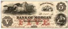 Obsolete bank note, 1857, Bank of Morgan, Morgan, Georgia