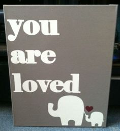 16x20 canvas, 16x20 painting, canvas art, canvas wall art, canvas quotes, Nursery Decor, Nursery Art, Elephant baby shower, Love Quotes on Etsy, $53.00