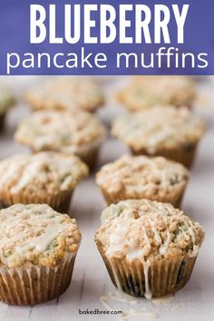 Blueberry Pancake Muffins with Maple Glaze is the ultimate homemade muffin recipe. Whip up this blueberry muffin with a tasty twist. Lemon Desserts, Great Desserts, Healthy Dessert Recipes, Breakfast Recipes, Brunch Recipes, Snack Recipes, Cooking Recipes, Brunch Ideas, Cupcake Recipes