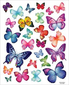 Easy Instant Home Decor Wall Sticker Decal – Vivid Colorful Butterflies Wing Span – Butterfly Decals For Girls Room: Housewarming giftGet the fantastic DecoMates Vivid Colorful Butterflies Repositional Wall Decal by DecoMates online today. Butterfly Crafts, Butterfly Wings, Butterfly Images, Printable Butterfly, Butterfly Pattern, Diy Sticker, Butterfly Coloring Page, Butterfly Wall Decals, Wall Stickers Murals