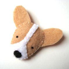 Corgi Felt Brooch Cute Puppy Dog Fashion Pet Handmade Accessory Natural Color. $14.99, via Etsy.