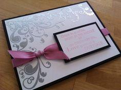 Fairytale wedding  SU  Paper: basic black, whisper white    Ink: versamark, pretty in pink    Techniques: embossing