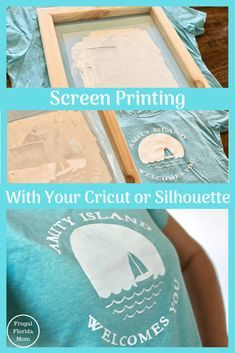 easy diy Screen Printing With Your Cricut Or Silhouette - An Easy DIY Guide Pot Mason Diy, Mason Jar Crafts, Mason Jars, Diy Guide, Shilouette Cameo, Diy Screen Printing, Diy Shirt Printing, Printing Press, Cricut Tutorials