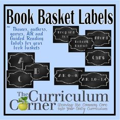 Chalkboard Themed Book Basket Labels- free printable basket tags for many themes, authors, favorite series, AR and Guided Reading levels.  All free from www.thecurriculumcorner.com..