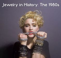 #JewelryInHistory: 1980s fashion accentuated the big and beautiful from hairstyles to clothing, and the #jewelry scene was no exception. Delicate, elegant and minimal necklaces were replaced with oversized statement pieces, while mixing and matching became the ideal method to personalize jewelry choices. The quest for individuality through #fashion was also expressed through the DIY punk rock aesthetic.